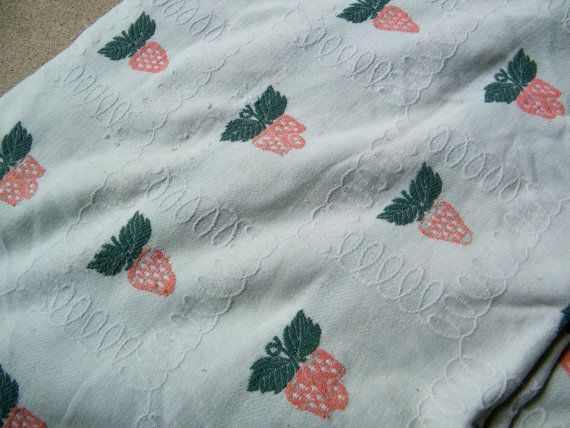 Bates Strawberry Bedspread / 94 X 92 by assemblage333 on Etsy, $30.00