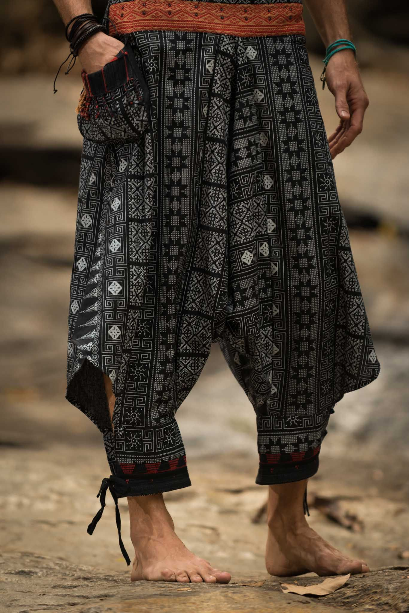 traditional prints thai hill tribe fabric men harem pants