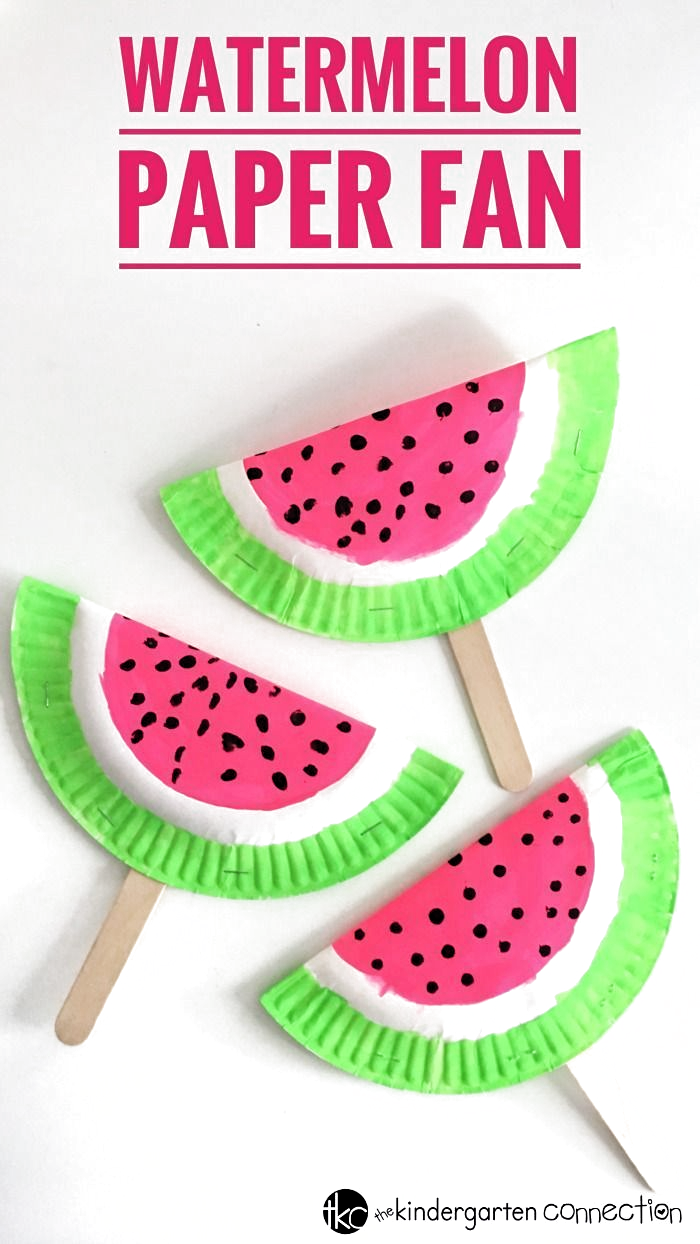 Make this easy Paper Fan Watermelon Craft using frugal supplies you already have on hand! Perfect for a kids summertime craft! #craftsforkids #summercraft #watermelon #diyfan #paperfan #kidscraft #paperplatecraft