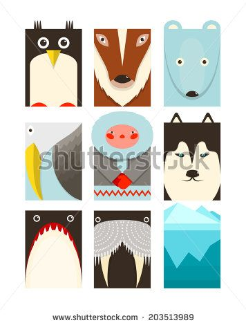 Flat Arctic Symbols Set. North pole animals collection. Vector layered EPS8 illustration. - stock vector