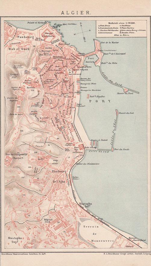 1893 ALGIER ALGIERS Landkarte Antique Map * Original Druck / Print * Afrika