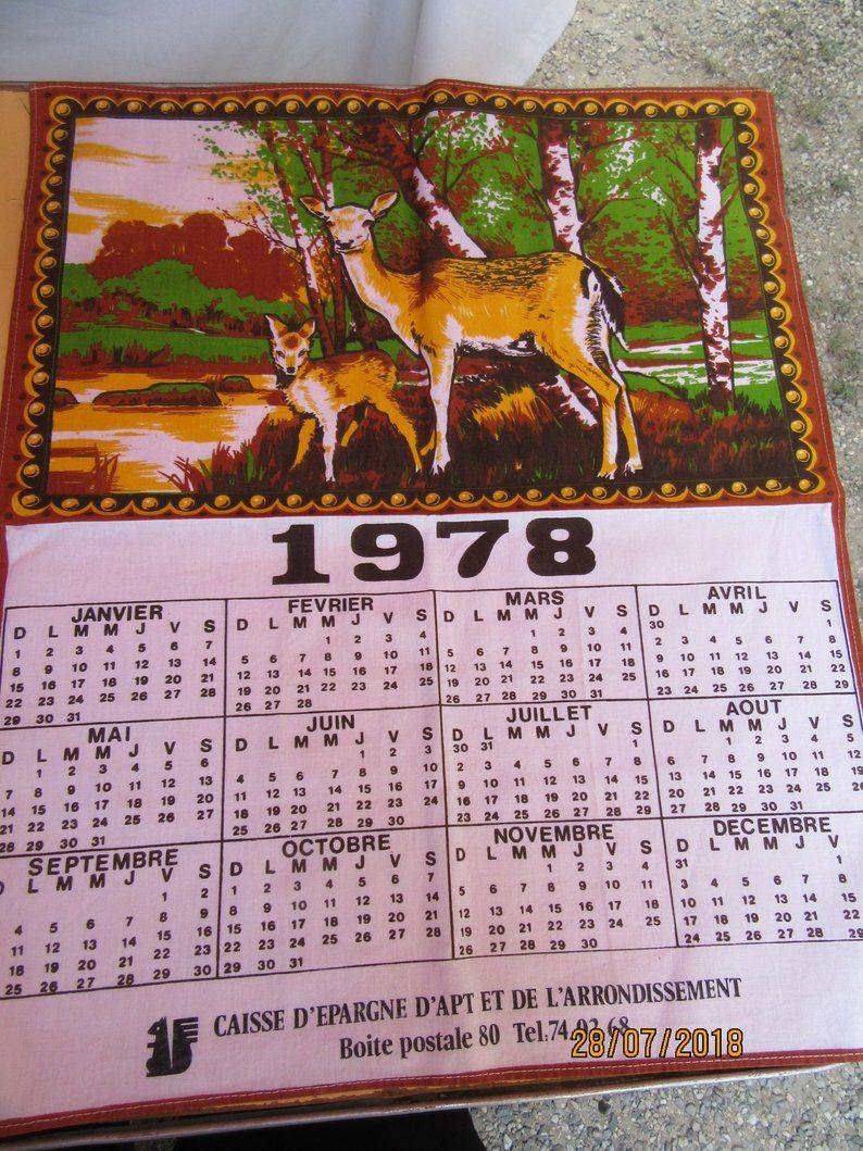 Vintage Tea Towel Year 1978 Calendar Doe And Fawn Advertising