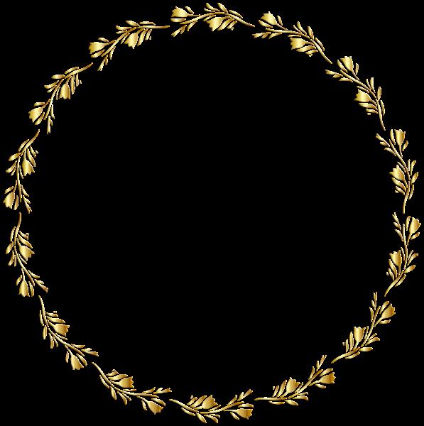 Gold Round Floral Border Transparent Clip Art Image Clip Art Borders Floral Border Wreath Drawing
