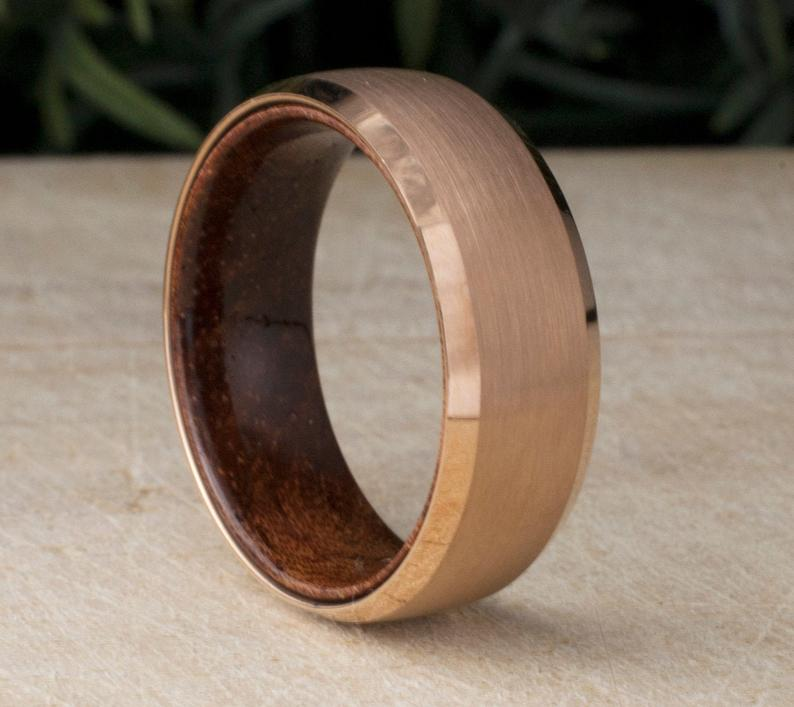 Rose Gold Tungsten Ring Wood Male Wedding Band 8mm Brushed Design