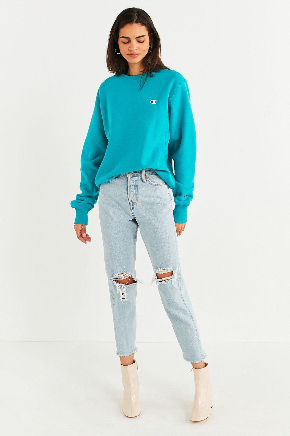 Urban Outfitters Champion Uo Reverse Weave Logo Pullover Sweatshirt Turquoise Sweatshirts Vintage Retro Clothing Sweatshirt Fashion [ 1463 x 975 Pixel ]