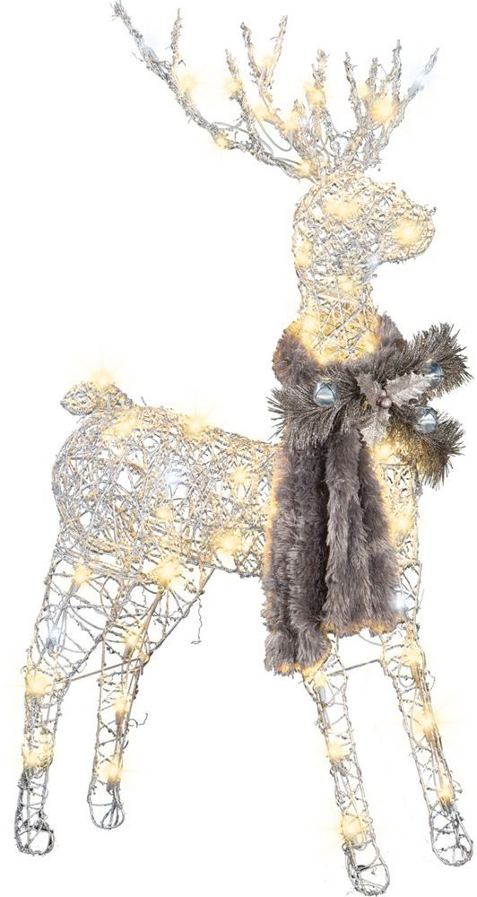 lighted vine deer buck christmas lawn ornament decoration led light snow glitter gemmyindustries - Lighted Deer Christmas Lawn Ornaments