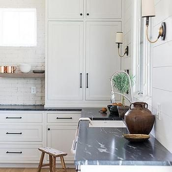 Honed Soapstone Countertops on White Cabinets | Cabinets ...