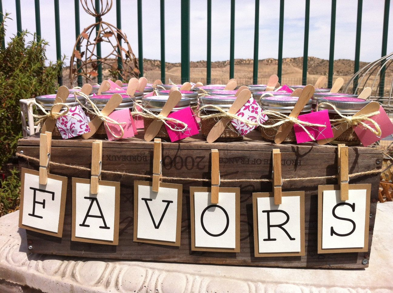 Favor table rustic mason jar favors 75 organic sugar for Wedding supplies