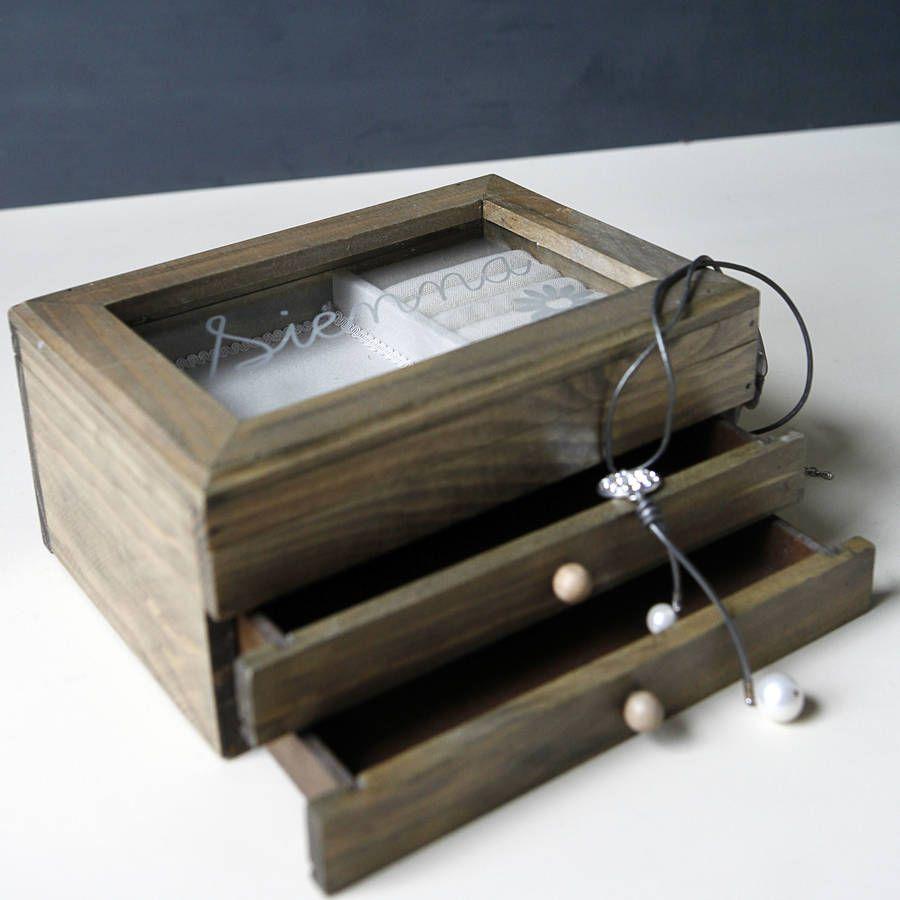 Personalised modern wooden jewellery box