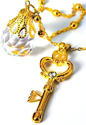 Sailor Moon Cosplay Chibi Usa Gold Crystal Keys Necklace Pendant Chains Jewelry