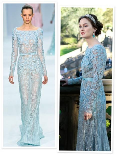 ff373e4dc0f99 Gossip Girl Fashion,Blair In Elie Saab Wedding Dress,Light Sky Blue Color  with Sheer Illusion Sexy!