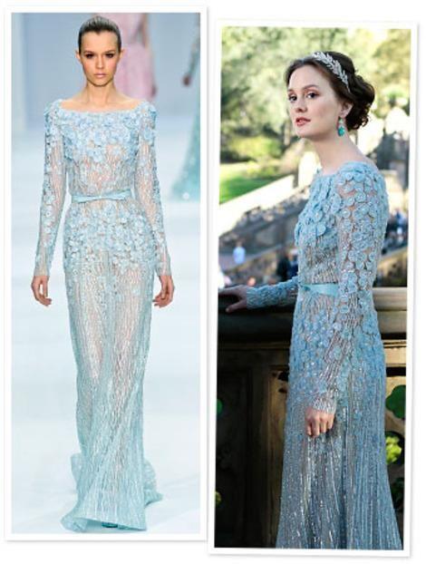 ff373e4dc0f99 Gossip Girl Fashion,Blair In Elie Saab Wedding Dress,Light Sky Blue Color  with Sheer Illusion Sexy!