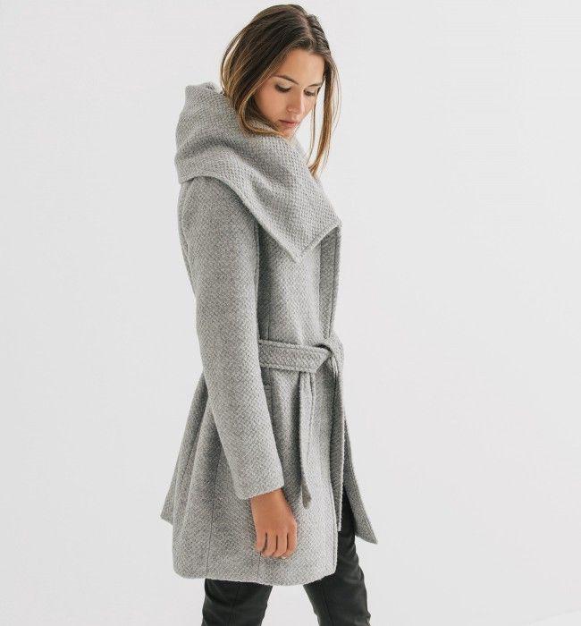 Manteau femme gris clair cintre