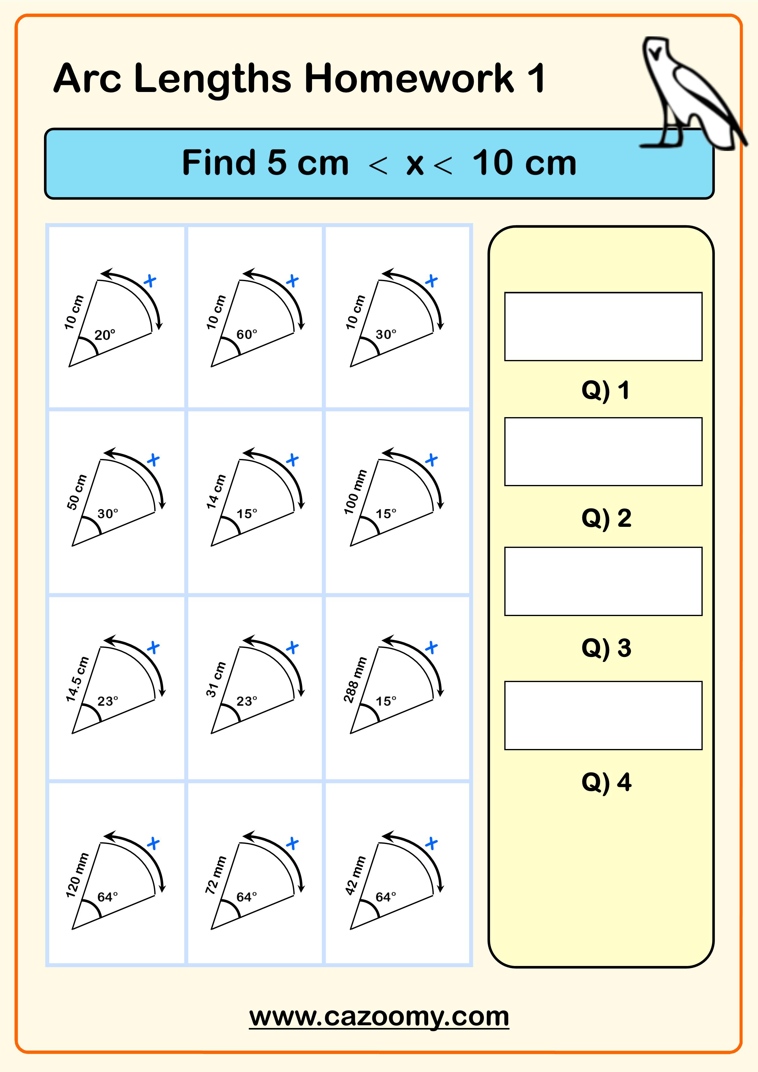 Arc Lengths Homework By Cazoomy