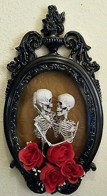 Photo of Halloween 3D Elegant Skeleton Couple Embracing – Shadow Box Haunted House Prop | eBay