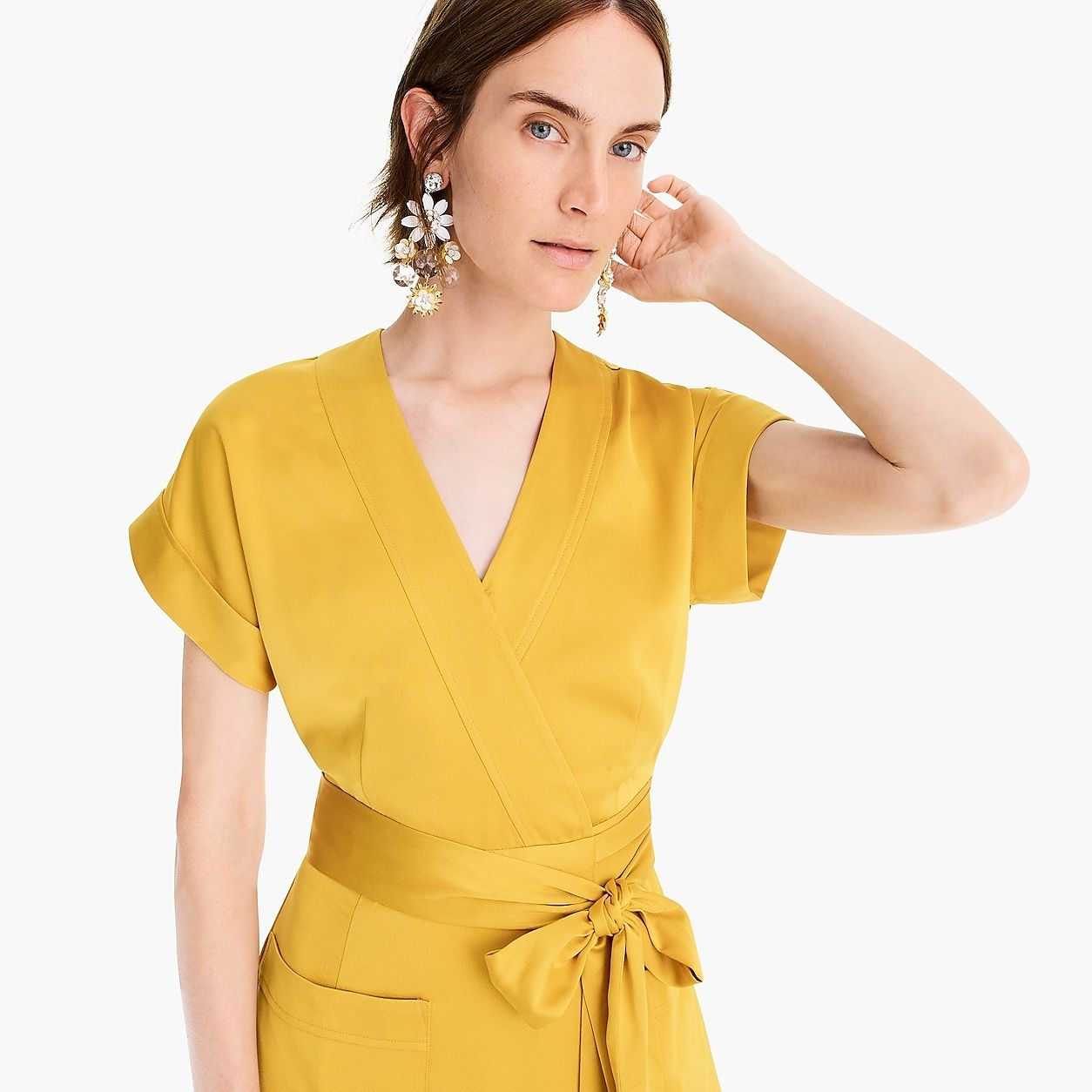 47a268719ff9 Short-Sleeve Wrap Dress In Satin-Back Crepe | Products in 2019 ...