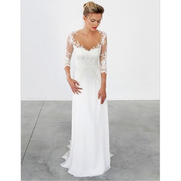 Simple Lace Wedding Dress Cheap Informal Bride Dress Half: Unique Lace 3/4 Sleeve White Formal Cheap Beach Long