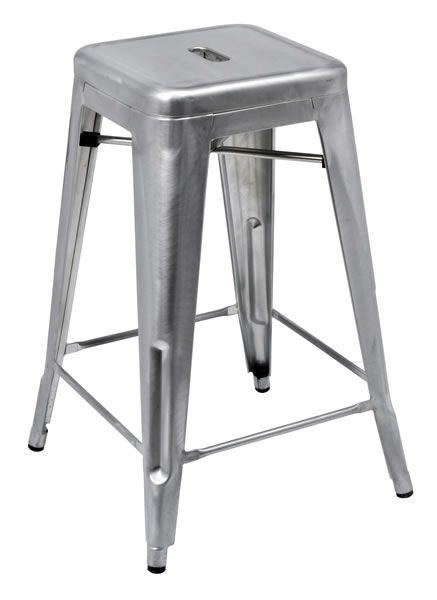 Azon Metal Tall Stool In Silver No Back