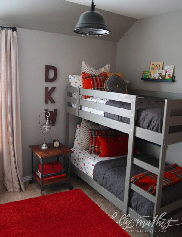A Cute Gray And Orange Boys Bedroom With Bunk Bed Small Nightstand Schoolhouse Inspired Metal Light By Holly Mathis Interiors Color Scheme For