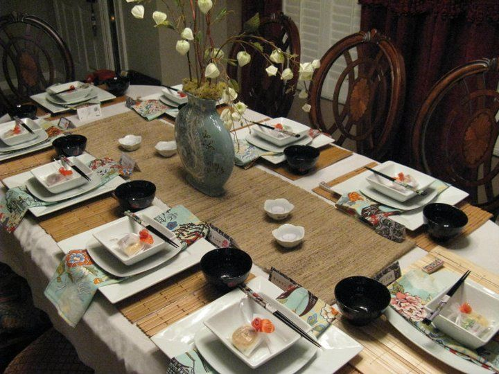 Pretty Elegant Table Setting For An Asian Inspired Dinner Party