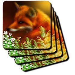 Amazon.com: Red Fox In The Garden - Set Of 8 Coasters - Soft: Furniture & Decor