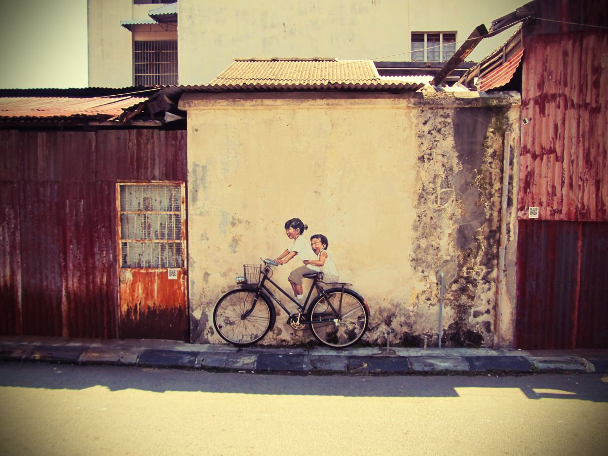 Penang Street Art (Children on a Bicycle) | Art walls, Tiny spaces ...