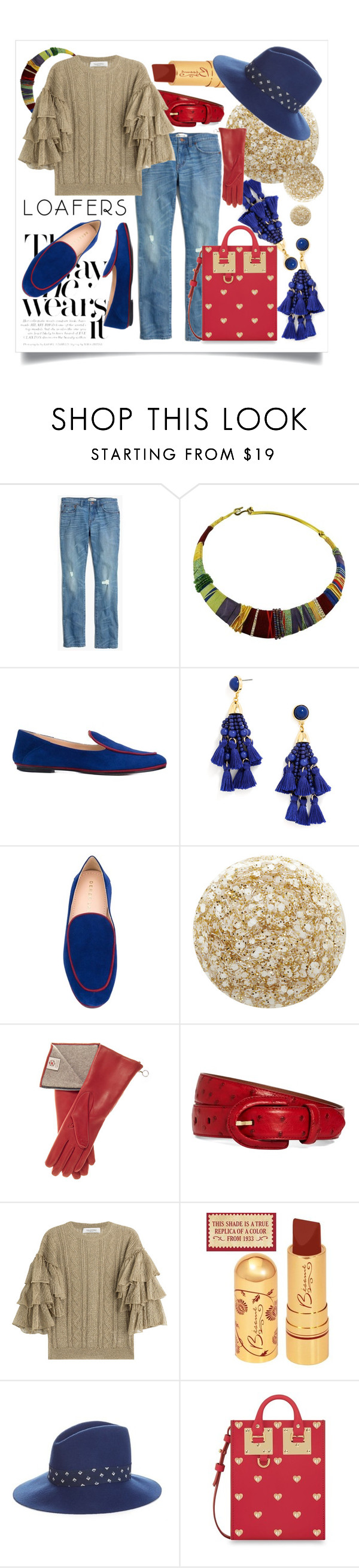 """""""Blue Loafers"""" by capricat ❤ liked on Polyvore featuring Madewell, Christian Lacroix, Derek Lam, BaubleBar, Nails Inc., Brooks Brothers, Valentino, Weekend Max Mara and Sophie Hulme"""