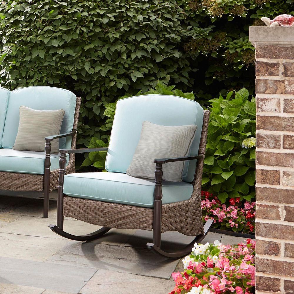 Hampton Bay Bolingbrook Rocking Patio Chair D13106 R The Home Depot Outdoor Patio Chairs Patio Rocking Chairs Patio Chairs