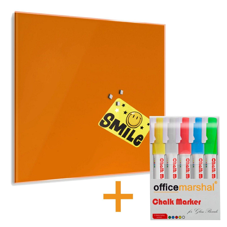 Tableau en verre casa pura® en 8 coloris   avec 5 marqueurs inclus   verre de sécurité aimanté, inscriptible   taille 45x50cm, jaune: Amazon.fr: Fournitures de bureau