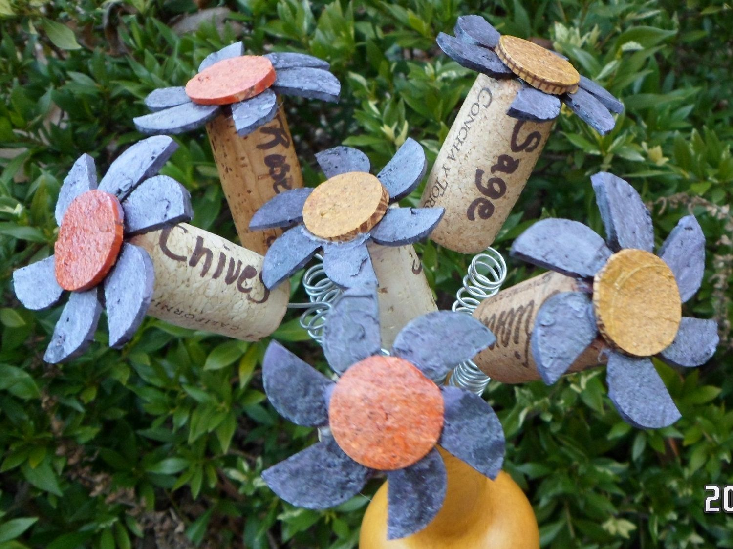Upcycled Cork Herb Garden Markers Unique Gift for Wine Drinking Gardener. $16.00, via Etsy.