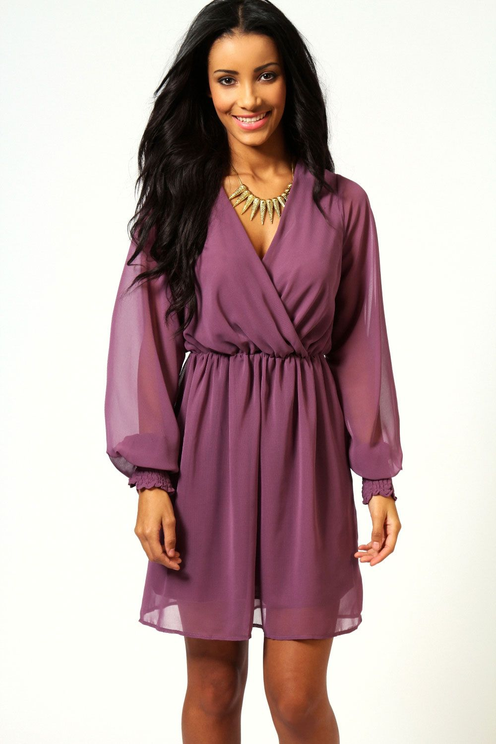 Sarah Solid Colour Wrap Front Dress from Boohoo.com | Ahhh ...