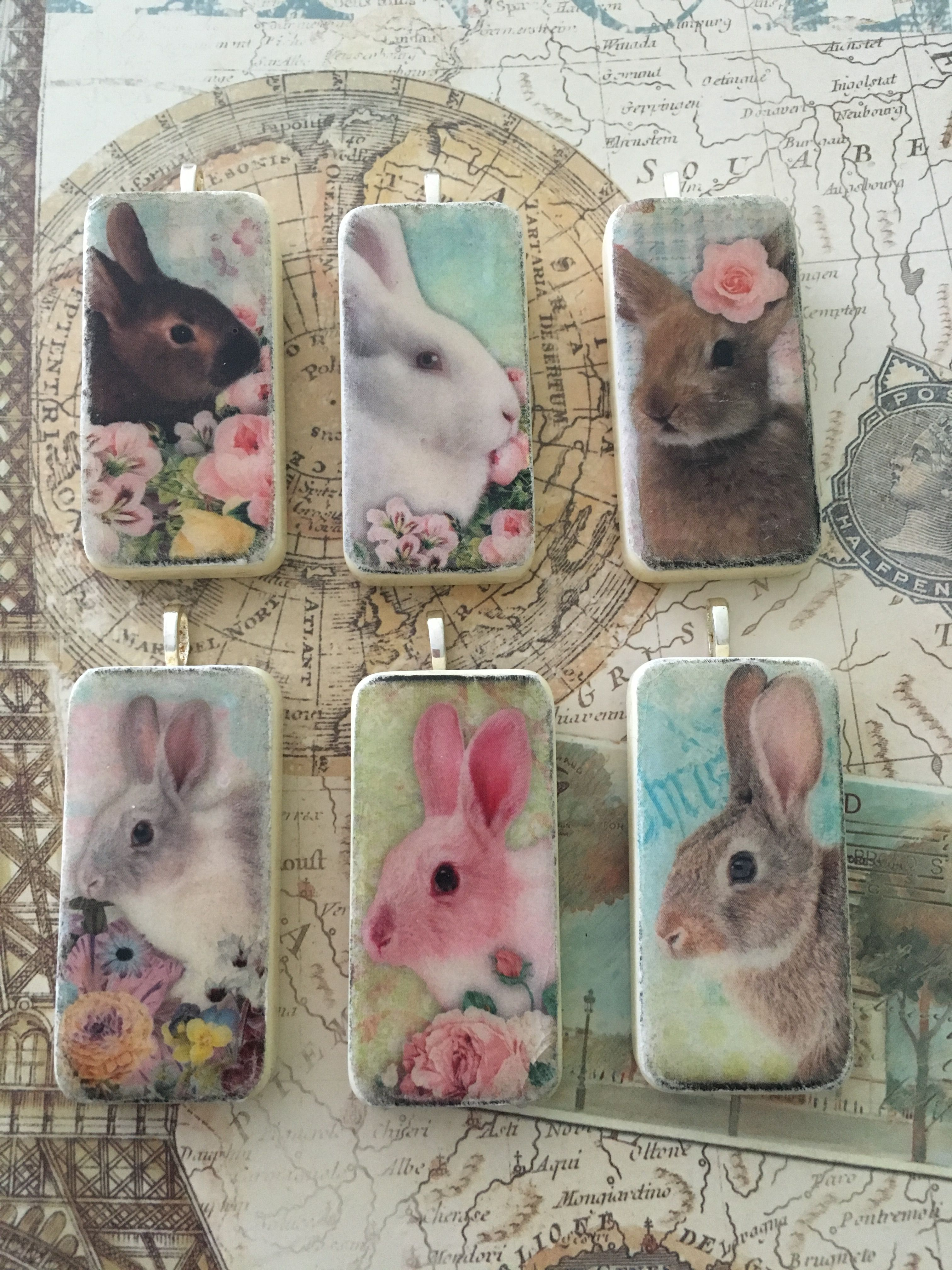 Bunny Rabbit Domino Pendants