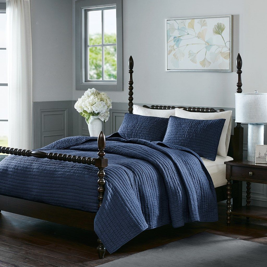 Luxury Navy Blue Cotton Quilted Coverlet And Decorative Shams Blue Bedroom Decor Navy Blue Bedroom Decor Coverlet Set