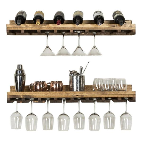 Del Hutson Designs Rustic Luxe 36 In W X 10 In D Dark Walnut Stemware Decorative Shelves Set Of 2 Dhd11 Wine Glass Rack Wine Glass Shelf Decorating Shelves