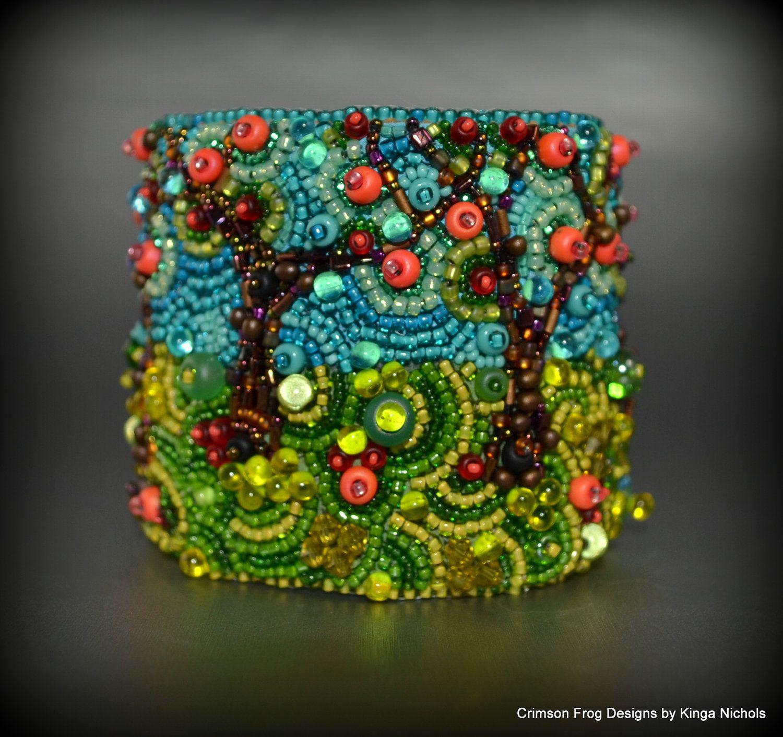 MADE TO ORDER - Summer Apple Orchard Bead Embroidery Cuff Bracelet- bead embroidered apple orchard bracelet. $250.00, via Etsy.