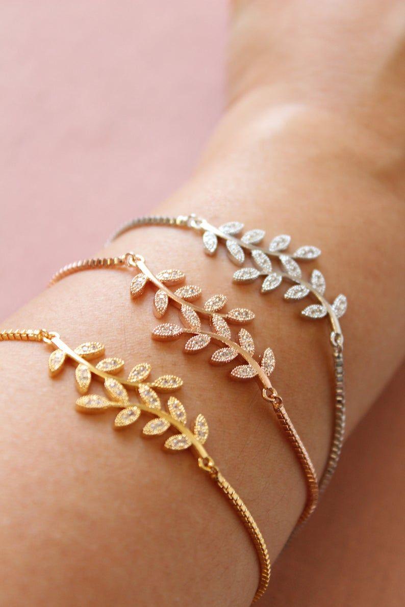 Photo of Dainty Bridesmaid bracelet, Gold Wedding bracelet, Silver Leaf Bracelet, Crystal Bracelet, Rose gold wedding jewelry, Bridal jewelry, gift