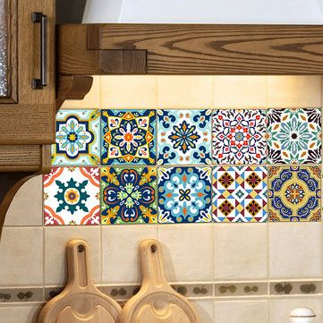 Wall Tiles Decor Mesmerizing 10Pcs Self Adhesive Vintage Ceramic Tiles Kitchen Bathroom Wall Decorating Design