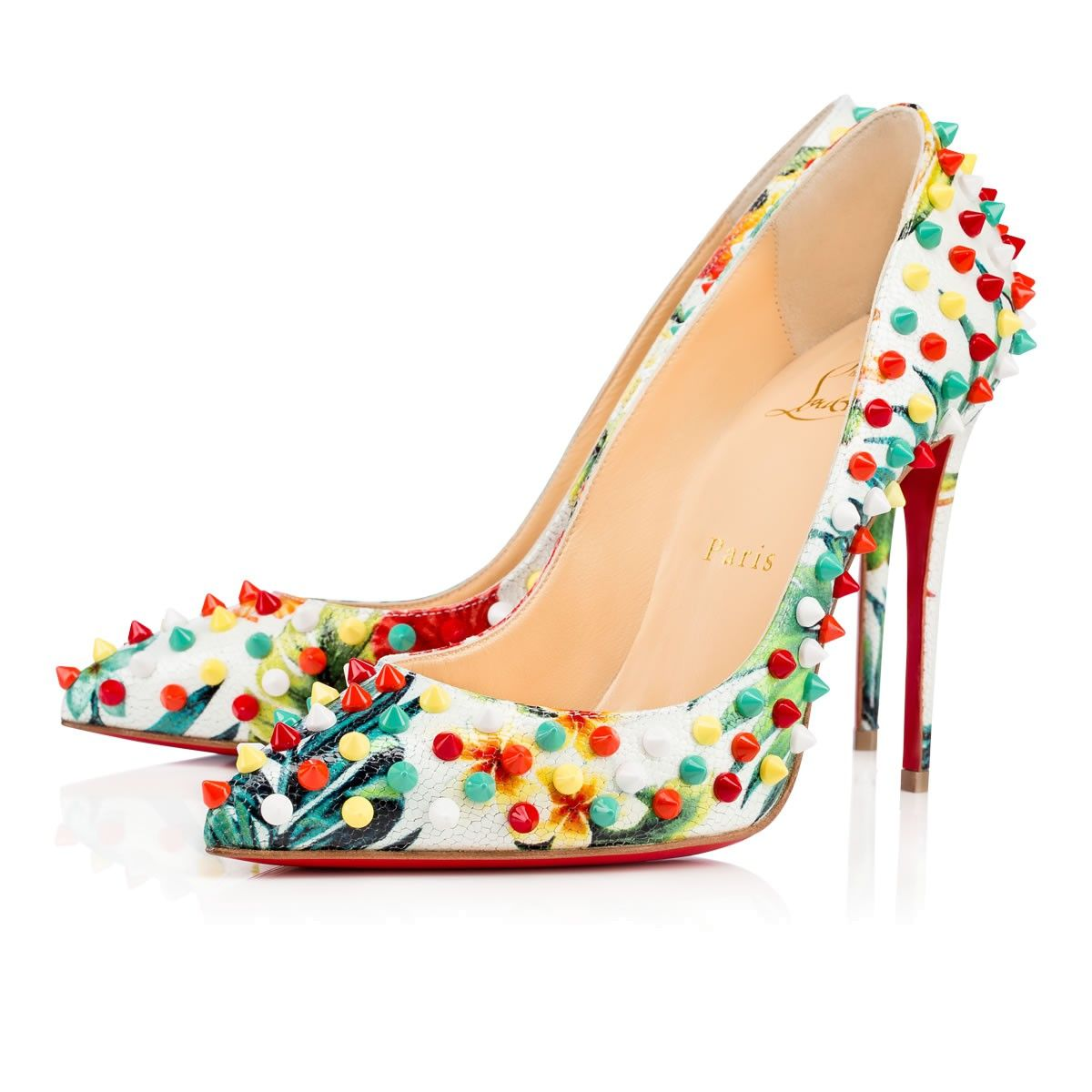 newest collection ad547 2b0ca CHRISTIAN LOUBOUTIN Follies Spikes Calf Hawaii, White ...