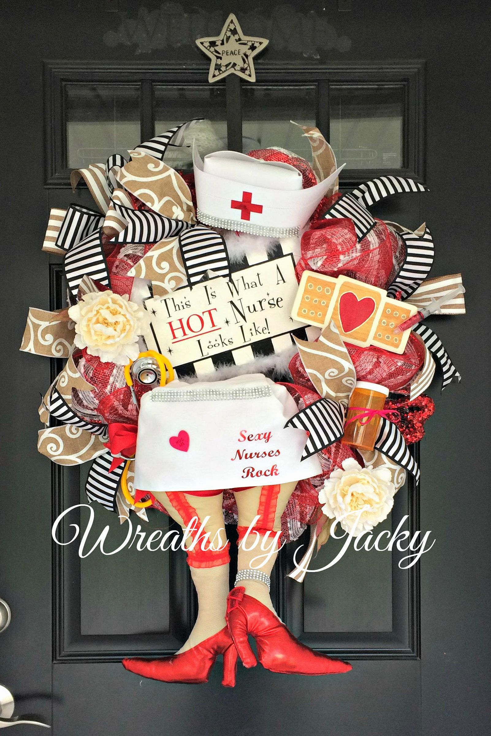 Nurse Wreath Hospital Door Hanger Nurse Gift Nurse Wall