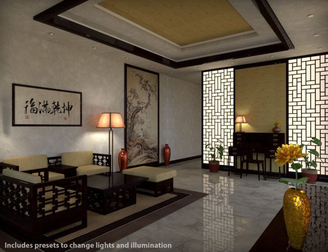 Modern Chinees Interieur : Modern chinese living room d models for poser and daz studio