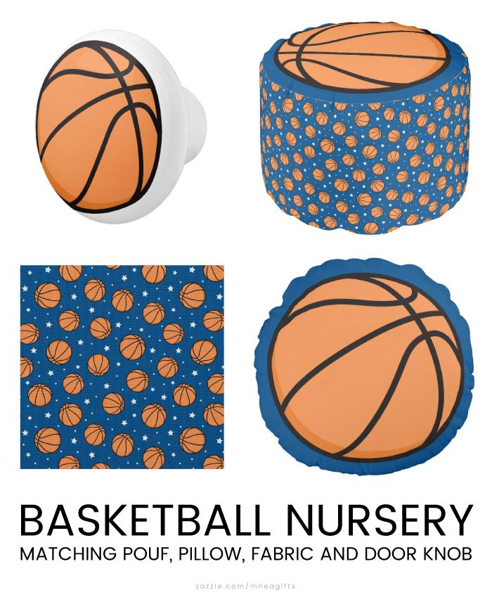 Basketball door knob, pouf, craft fabric and round pillow. Ideal for ...