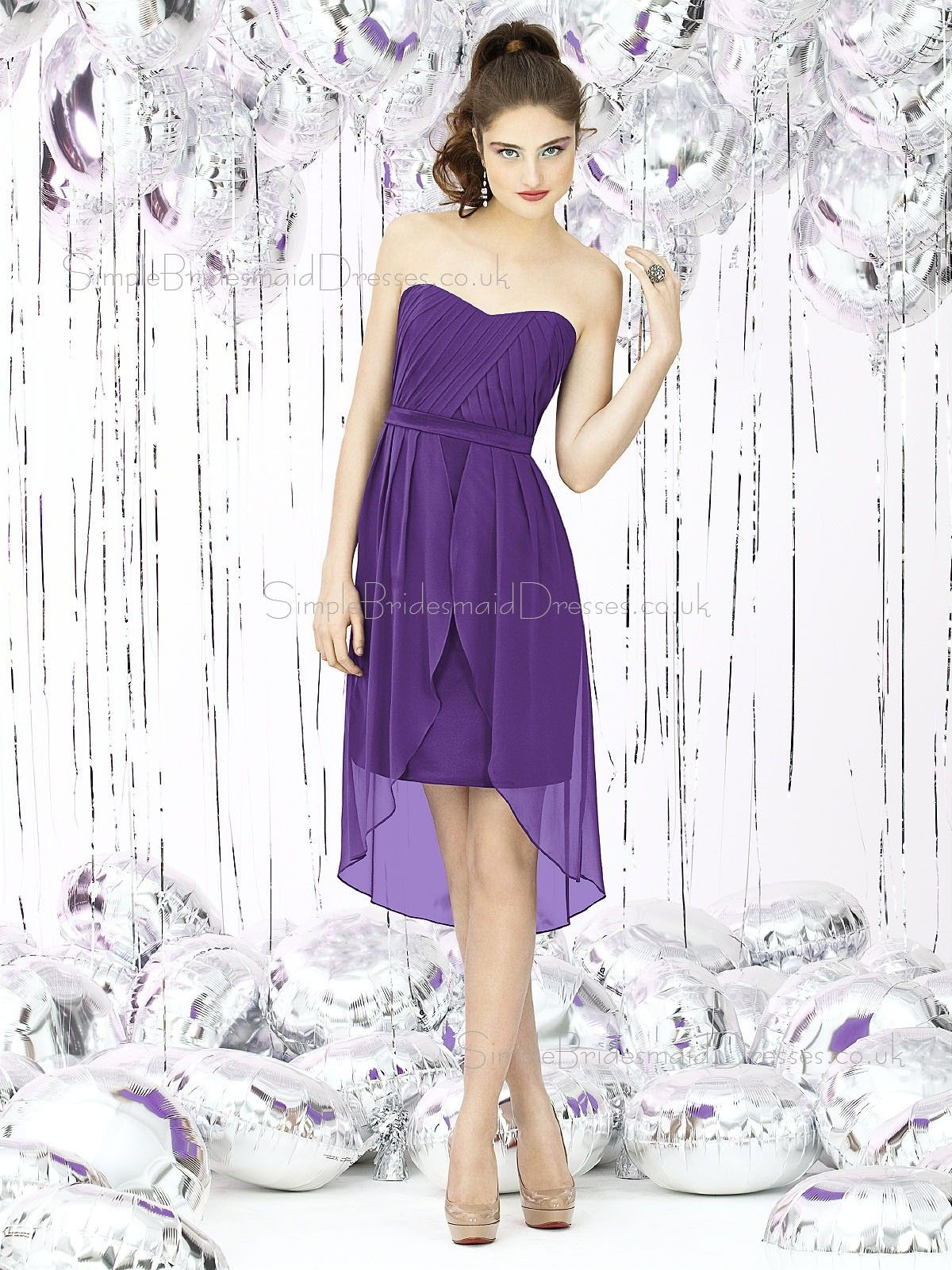 Chiffon Floor-length Zipper-Back Ruched-Ruffles Short-Sleeve ...