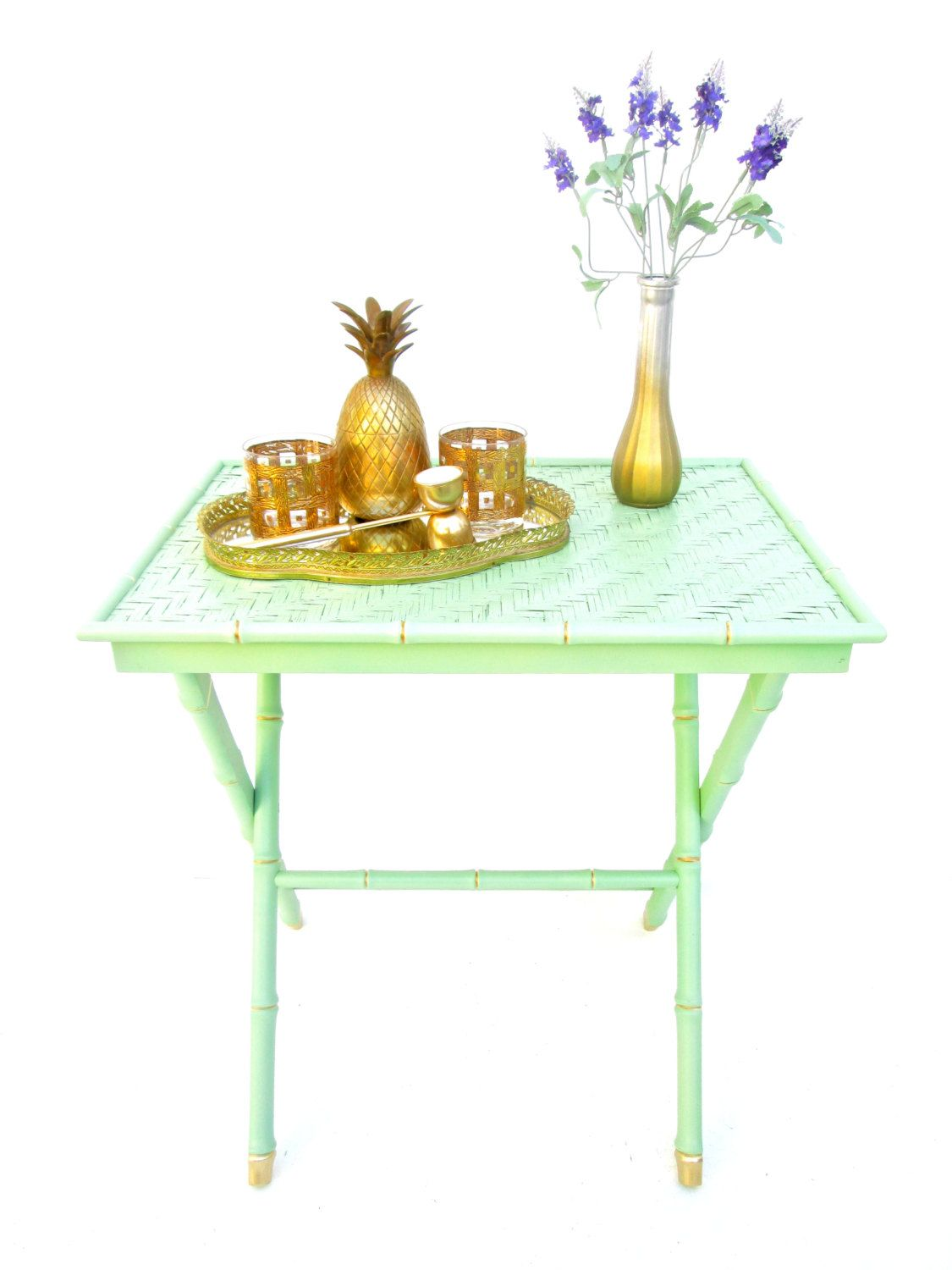 Vintage chinoiserie jade green u gold faux bamboo xform tray table