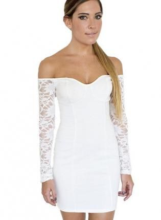 White Lace Long Sleeve Off The Shoulder Bodycon Dress 0ddb7f8e0ab7