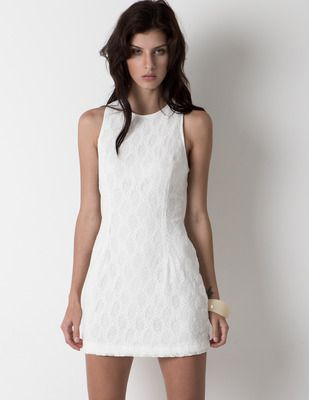 White Lace Racerback Dress #partydress #minidress #sleeveless