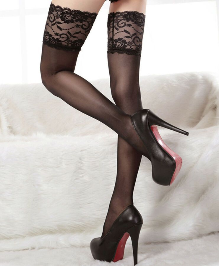 LADIES OVER THE KNEE SOCKS STOCKINGS THIGH HIGH WITH BOWS HOLD UPS BURLESQUE