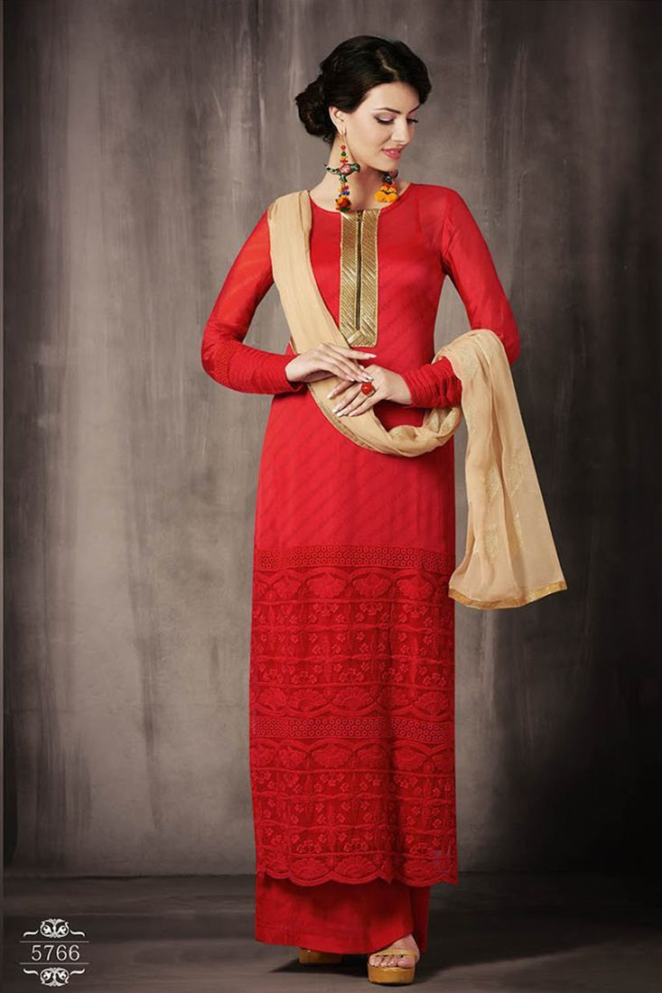 3a56f1fe00 Red Color Bemberg Georgette Palazzo Suit | Palazzo Suits | Dresses ...