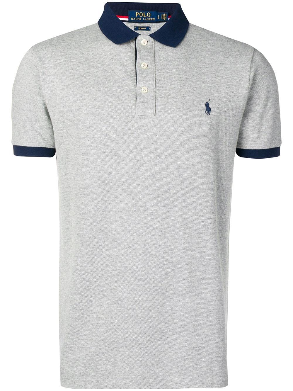 Logo Polo Shirt In Grey Ralph Lauren Logo Polo Ralph Lauren Mens Polo Shirt