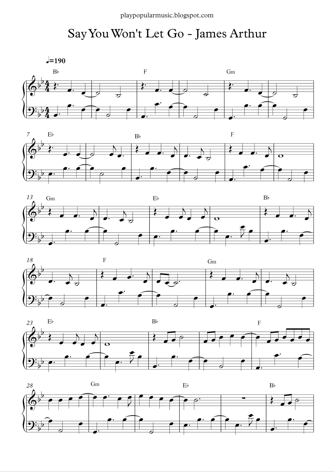 Free piano sheet music: Say You Wont Let Go-James Arthur pdf