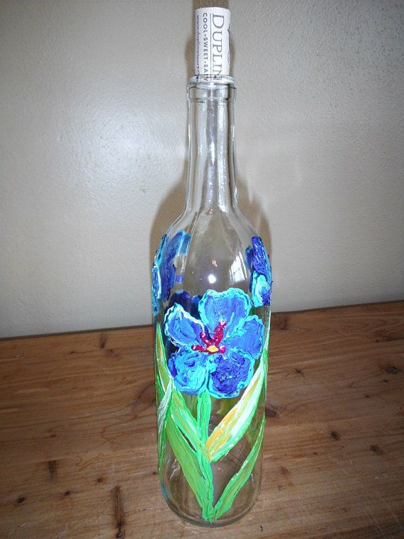 Clear painted wine bottle with cork spring flowers wedding for How to paint bottles with acrylic